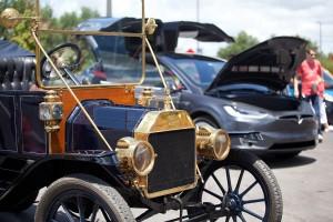 old automobile and new lamborghini